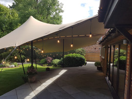 8x12m (2x 6x8s joined) stretch tent attached to house