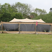 stretch tent clear front panels with zipped doorway access
