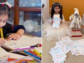 Menina de 5 anos cria cartões para idosos e quebra cofrinho para dar presente a abrigo