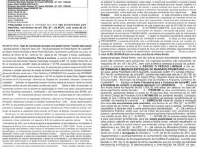 Edital de Citação, Manutenção de Posse, Fazenda Vista Alegre localizado em Juína MT, BR 174