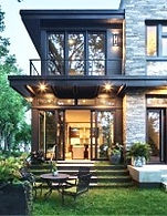 Residência, fachada bem iluminada