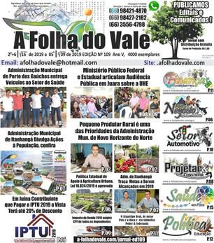 Edição 109 do Jornal A Folha do Vale a Disposição das Pessoas que Realmente Fazem a Diferença na Soc