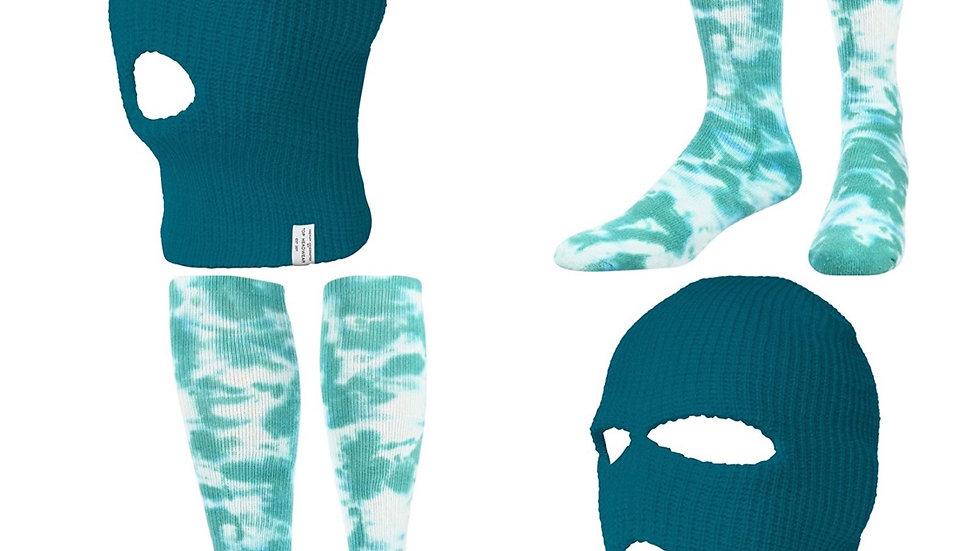 Teal socks and Mask Set