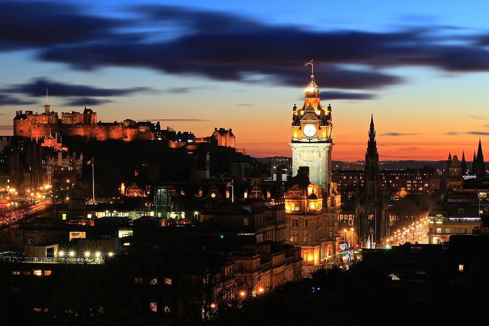 Edinburgh Castle and the Balmoral Hotel from Calton Hill at night