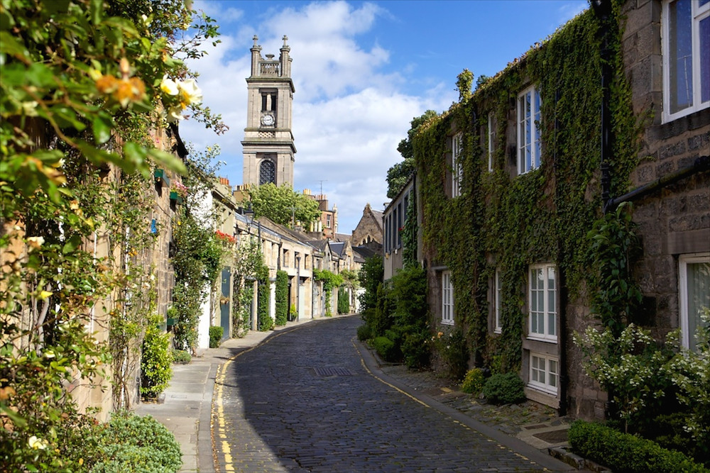 Circus Lane in the Stockbridge area, you have to walk half way along before this stunning view opens up.