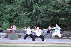 Us doing tai chi at Premiere Dance Acade