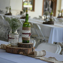 Logs and Burlap Lace Runner