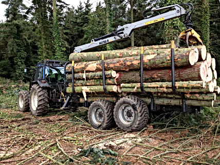 Kesla, timber trailer, forestry trailer, driving timber trailer, forestry drive trailer, forestry crane, forestry guarding, kesla, caledonian forestry, log trailer, wood trailer, timber crane, forestry machinery, forestry tractor, timber trailers uk
