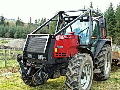 Forestry guarding, simple forestry guarding, full foretry guarding, cledonian forestry, roof mounted loader, forestry conversion, forestry tractor