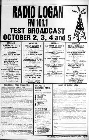 1986-10-01 101FM Broadcasting Schedule