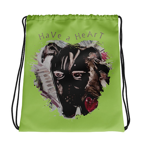 Save Animals / 2 N 1 / Drawstring Bag / Green