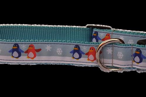 """Christmas Penguins 1"""" Dog Collar"""