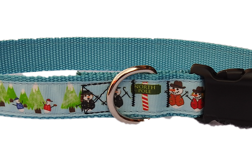 "North Pole Snowmen 1"" Dog Collar"