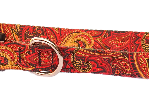 "Red Swirls 1"" Dog Collar"