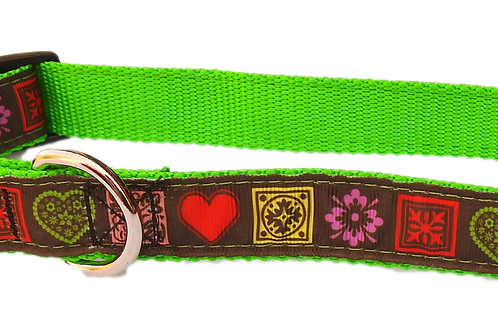 """copy of Country Hearts on Bright Green 1"""" Dog Collar"""