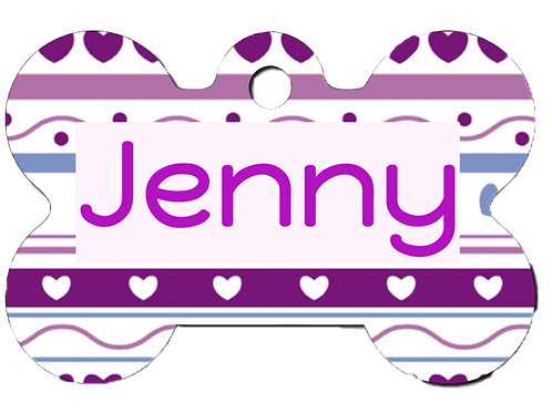 Purple Hearts Pet Tag