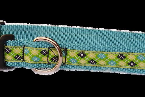 "Blue Argyle 1"" Dog Collar"