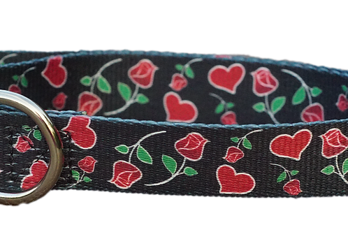 "Hearts and Roses 1"" Dog Collar"