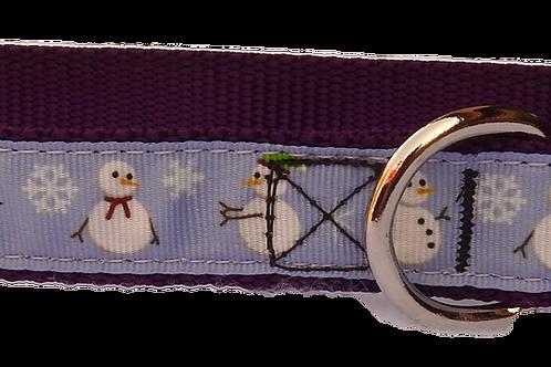 "Purple Snowmen 1"" Dog Collar"