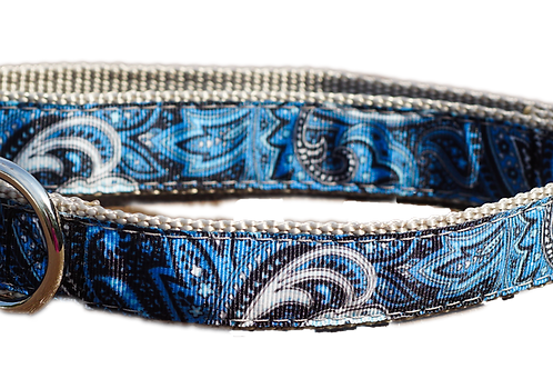 "Blue Swirl 1"" Dog Collar"