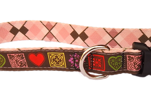 "Country Hearts on Pink 1"" Dog Collar"