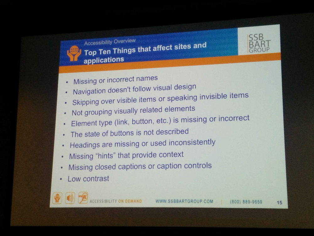 """A slide titled """"Top Ten Things that affect sites and applications"""""""