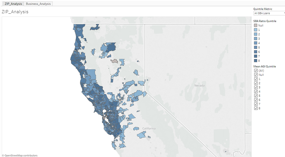 A choropleth map of California showing loans by zip code