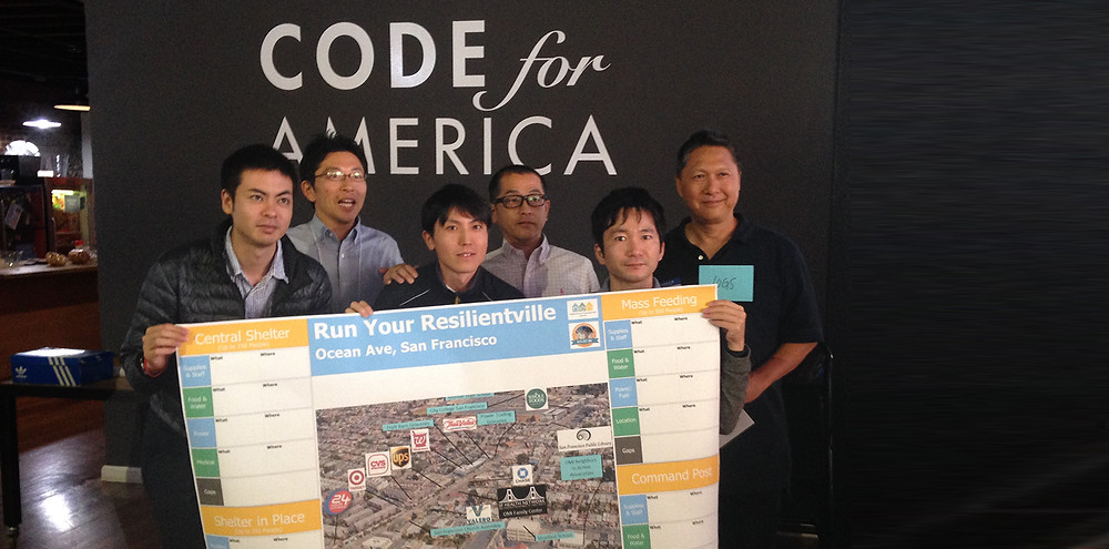 Participants pose in front of a Resilience map