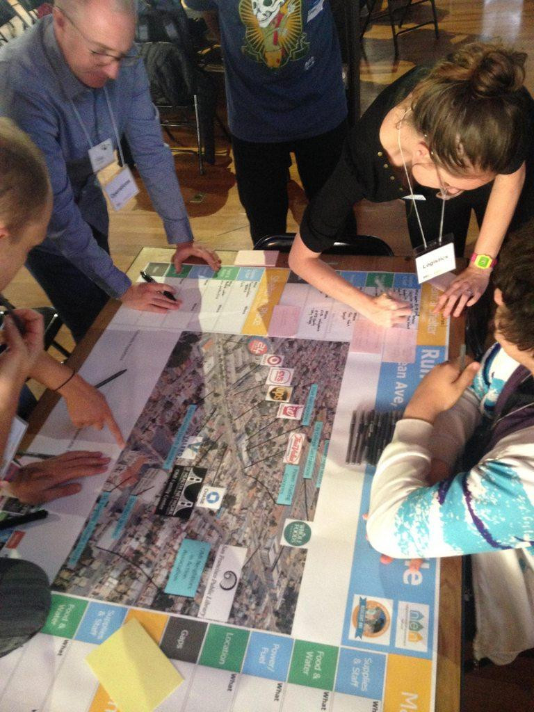 Participants work together on a physical Resilience map
