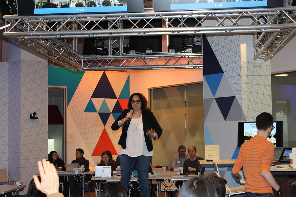 Keynote speaker Sandra Zuniga speaking on stage