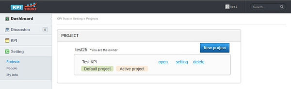 KPIアプリ プロジェクトリスト