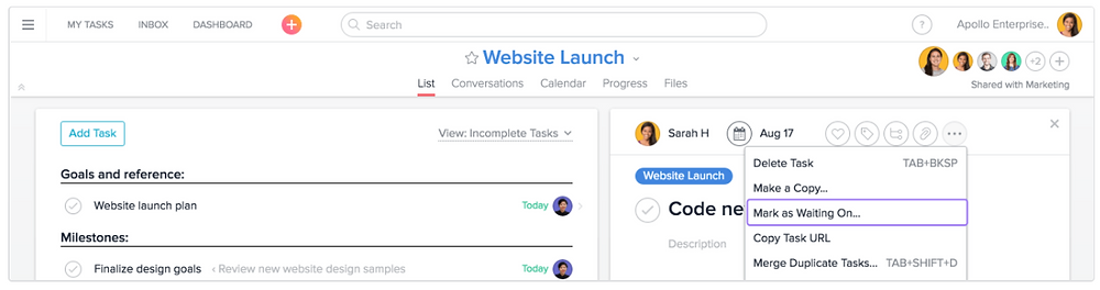asana working on