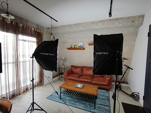 【Cスタジオ限定】FRUNSI 写真・動画照明用 ソフトボックス 50x70 cm 2スタンド(45Wx8個)