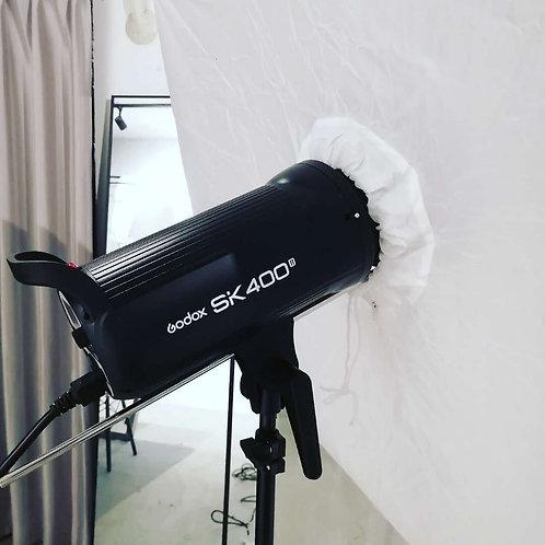 【Aスタジオ限定】Godox SK400iiストロボ+アンブレラ+色フィルター