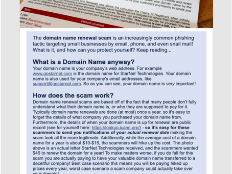 """Don't be fooled by the """"DOMAIN NAME EXPIRATION NOTICE"""" scam"""