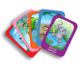 iFeel playing cards, african animals, feeling words