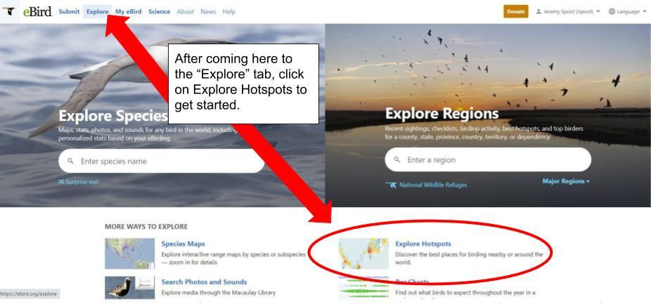 A screenshot from ebird showing you where to Explore Hotspots.