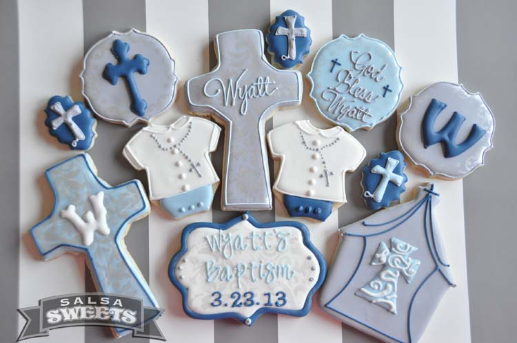 Baptism blue and gray