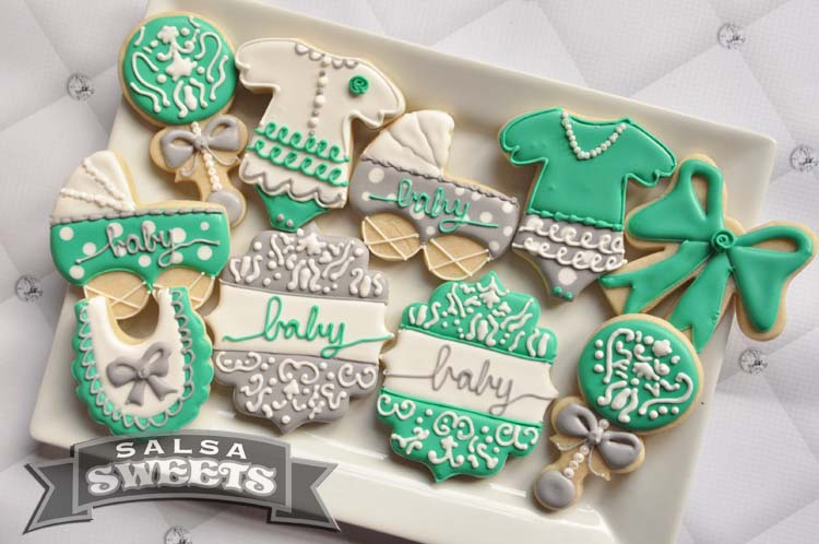 teal and gray baby shower