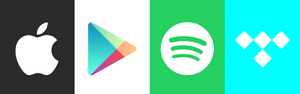 Logos for digital music stores spotify, apple music, tidal and google play