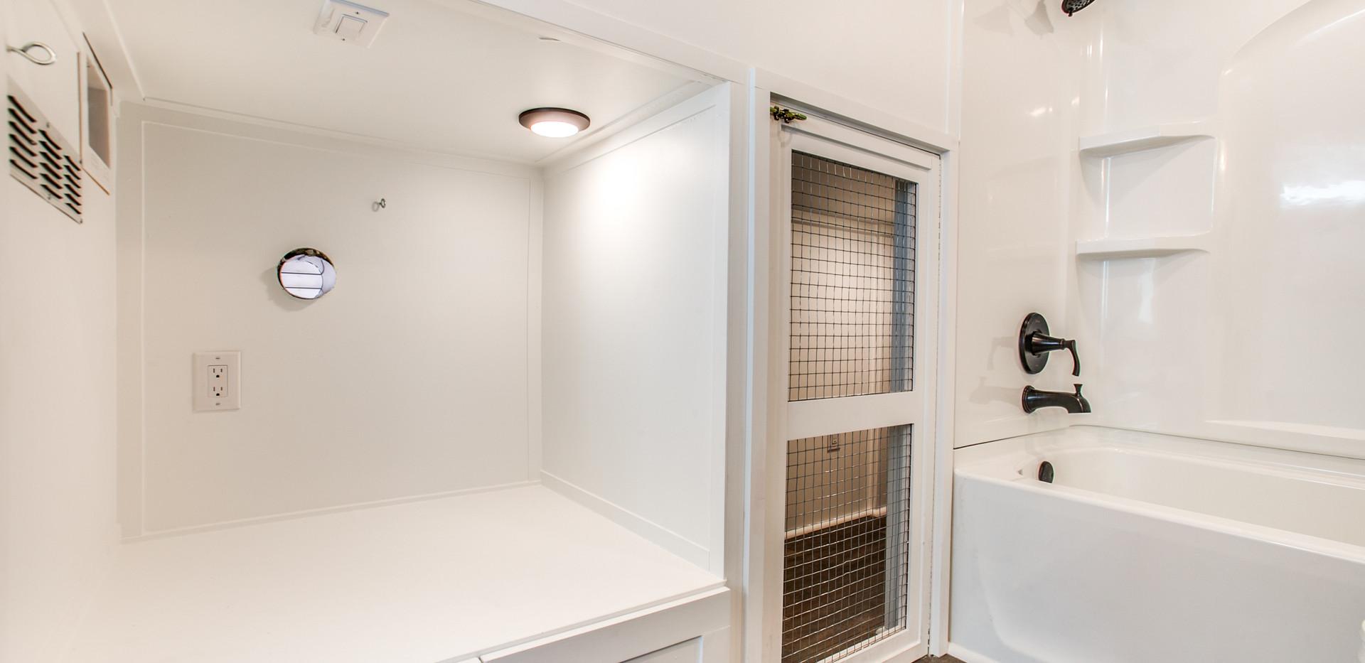 Screen door into dog kennel