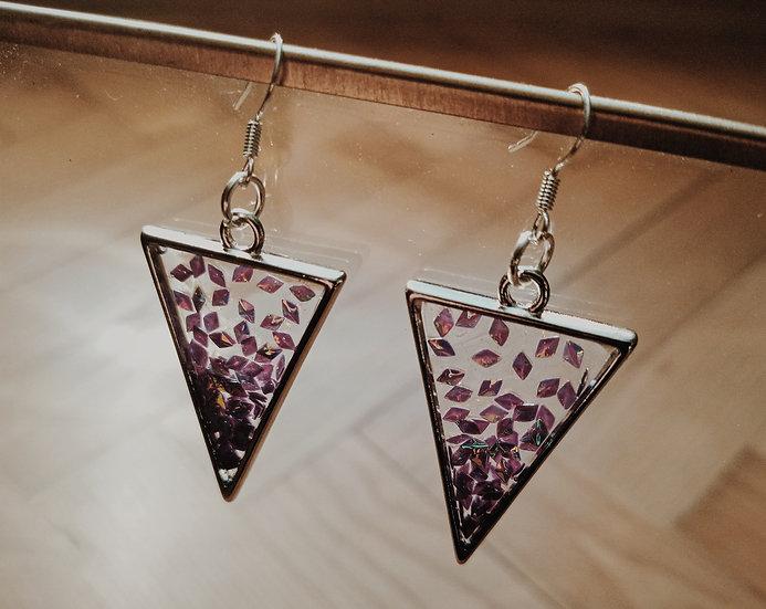 Kolczyki z fioletowymi diamencikami