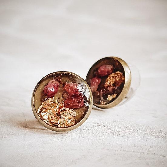 Kolczyki kółka z wrzoścem i złotkiem
