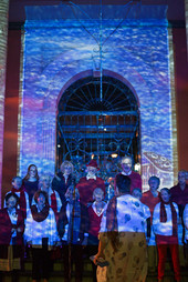 Gospel in the Maine complete with building projections by Jim Coad
