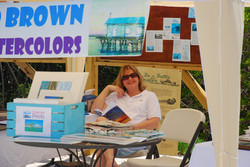 Susan Brown waiting for customers!