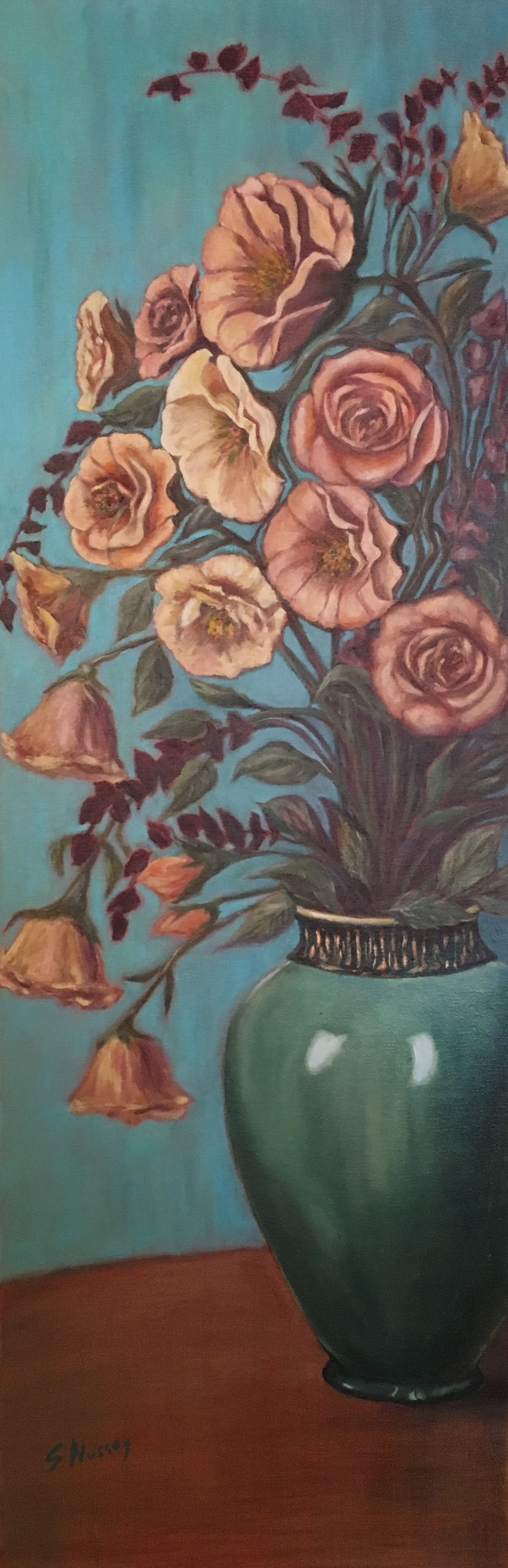 Flowers and Green Vase