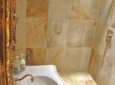 Luxury fossil stone wetroom