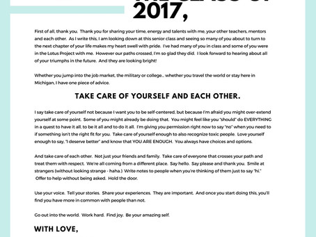A Letter to the Class of 2017