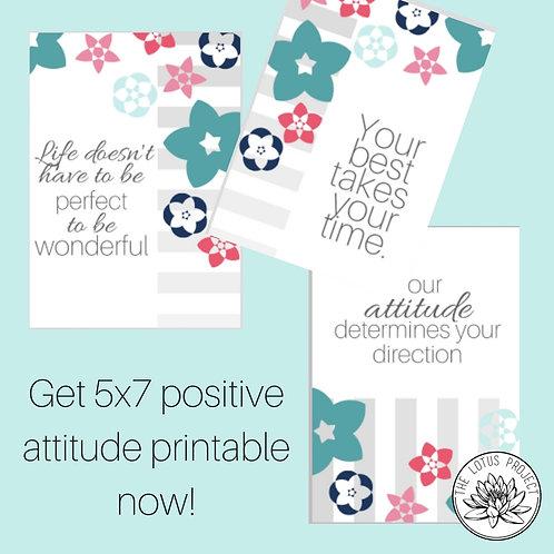 Positive Attitude 5x7 Printable