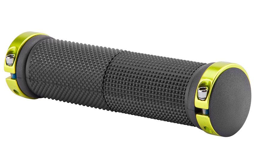 Грипсы XH-G59BL 130 мм чёрные, зеленые кольца